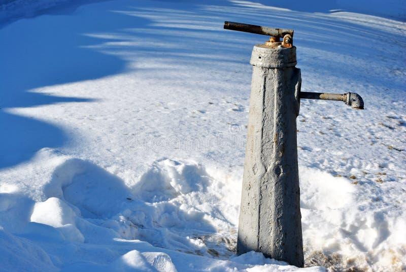 Παλαιό γκρίζο χρωματισμένο μέταλλο πόλεων καλά, για την άντληση του νερού στο άσπρο χιόνι στοκ φωτογραφία με δικαίωμα ελεύθερης χρήσης