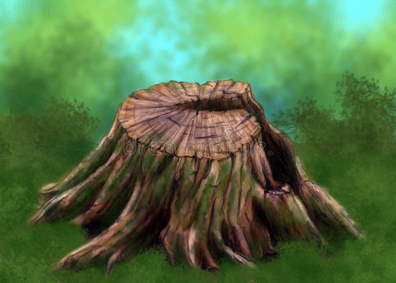 παλαιό δέντρο κολοβωμάτω& διανυσματική απεικόνιση