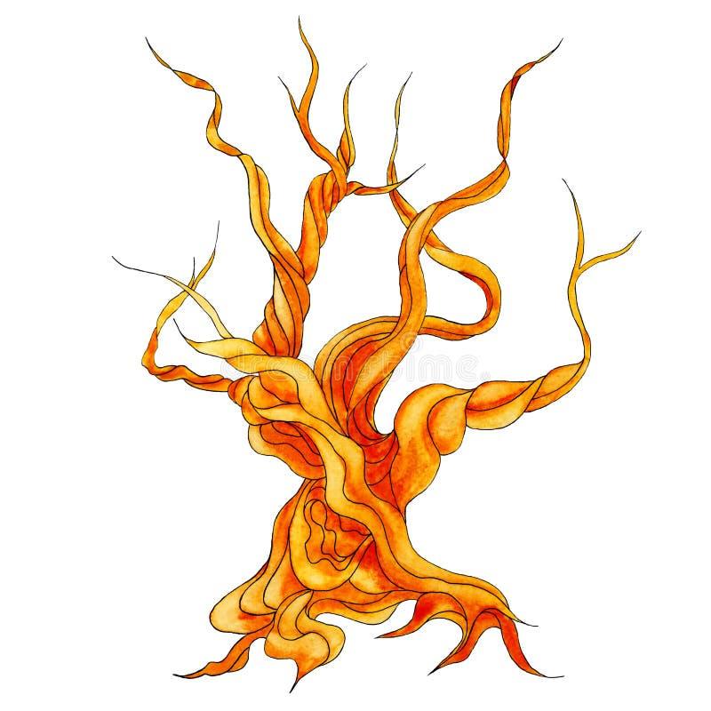 Παλαιό δεμένο παχύ ξύλινο δέντρο - καφετής μυθικός με τη διάδοση των κλάδων απεικόνιση αποθεμάτων