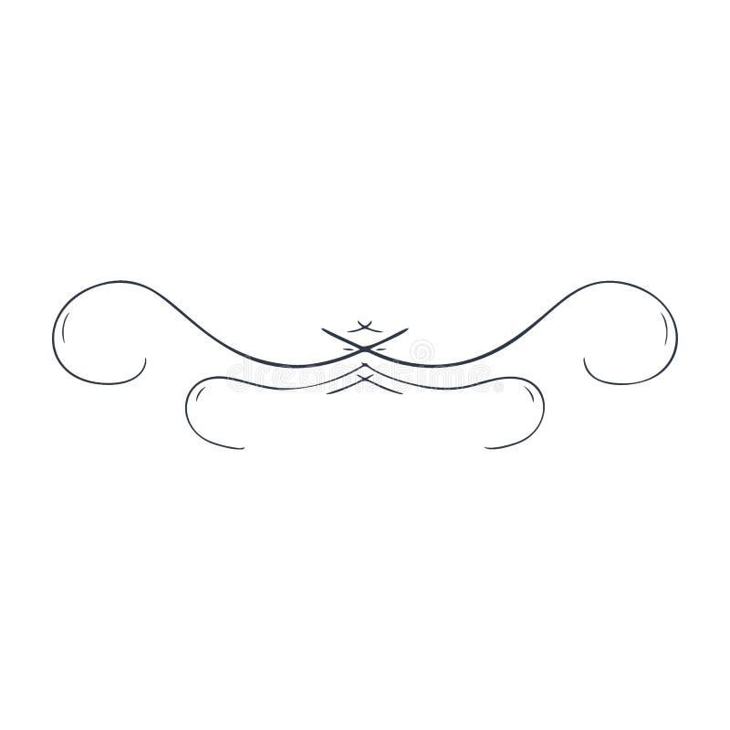 Παλαιό διακοσμητικό στοιχείο, στοιχείο κυλίνδρων, διαιρέτης σελίδων Διακόσμηση διανυσματικό λευκό καρ&chi διανυσματική απεικόνιση