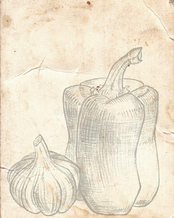 Παλαιό εκλεκτής ποιότητας έγγραφο με το πιπέρι και το σκόρδο Επιλογές εστιατορίων backgr ελεύθερη απεικόνιση δικαιώματος