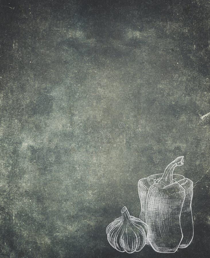 Παλαιό εκλεκτής ποιότητας έγγραφο με το πιπέρι και το σκόρδο Επιλογές εστιατορίων backgr διανυσματική απεικόνιση