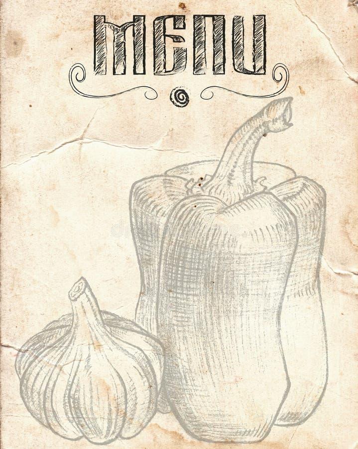 Παλαιό εκλεκτής ποιότητας έγγραφο με το πιπέρι και το σκόρδο Επιλογές εστιατορίων backgr απεικόνιση αποθεμάτων