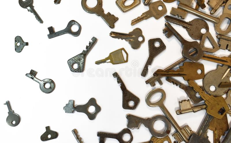 Παλαιό εκλεκτής ποιότητας διάφορο σχέδιο κλειδιών Παλαιά μετάλλων χρυσή διαφορετική ένδειξη χρώματος χαλκού ασημένια για το λουκέ στοκ φωτογραφία με δικαίωμα ελεύθερης χρήσης