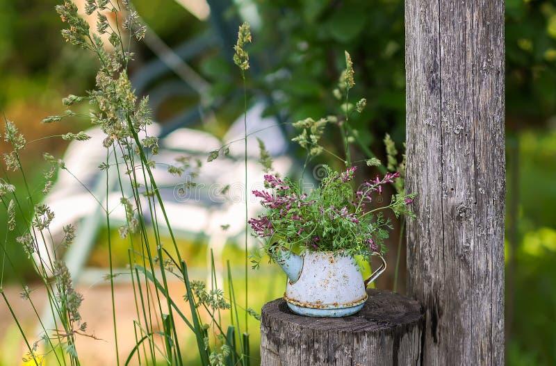 Παλαιό εκλεκτής ποιότητας μικρό αγροτικό teapot με τα wildflowers στο υπόβαθρο ταλάντευσης κήπων στοκ φωτογραφία