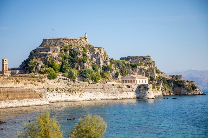 Παλαιό ενετικό φρούριο και ελληνικός ναός στην Κέρκυρα, Επτάνησα, Ελλάδα στοκ φωτογραφίες