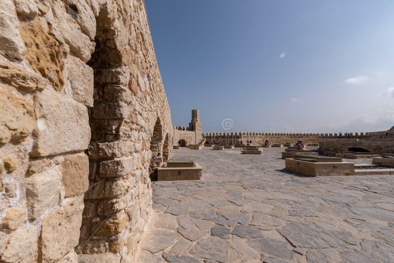 Παλαιό ενετικό φρούριο Koules στην πόλη Ηρακλείου, Κρήτη Κορυφή β στοκ φωτογραφίες