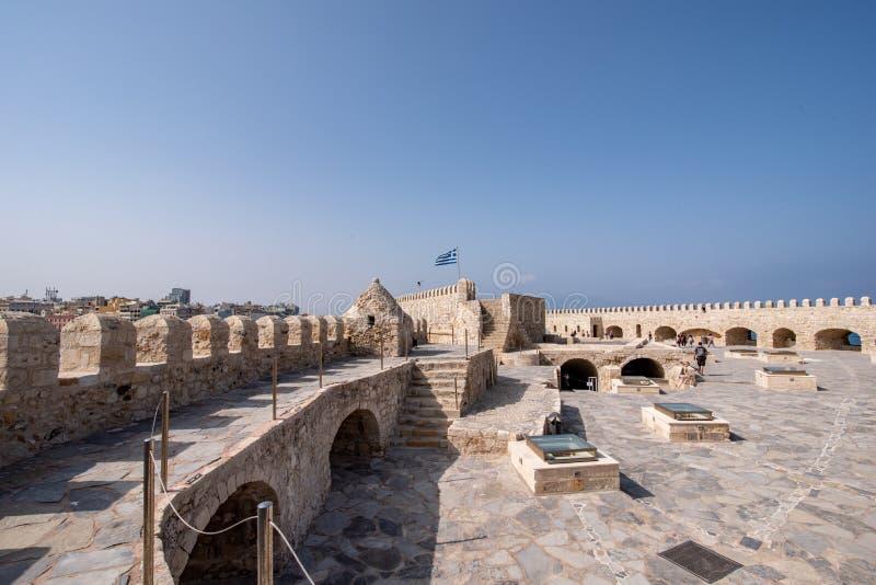 Παλαιό ενετικό φρούριο Koules στην πόλη Ηρακλείου, Κρήτη Κορυφή β στοκ φωτογραφία