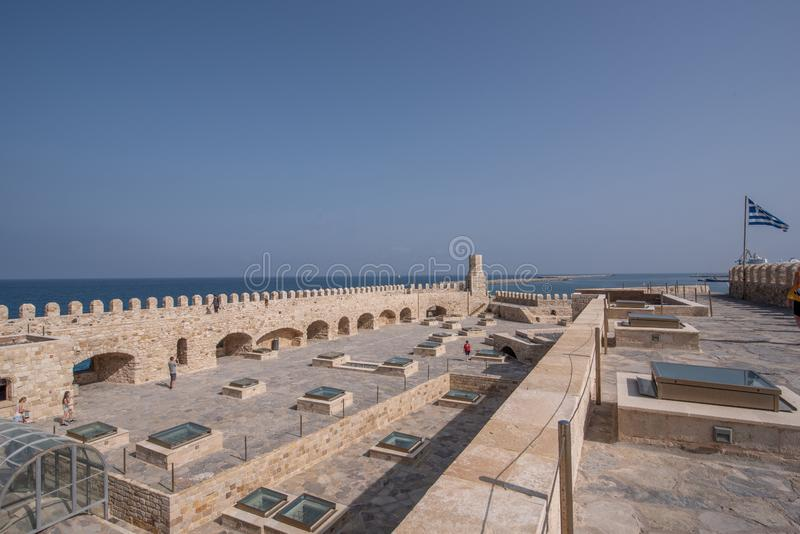 Παλαιό ενετικό φρούριο Koules στην πόλη Ηρακλείου, Κρήτη Κορυφή β στοκ εικόνες με δικαίωμα ελεύθερης χρήσης