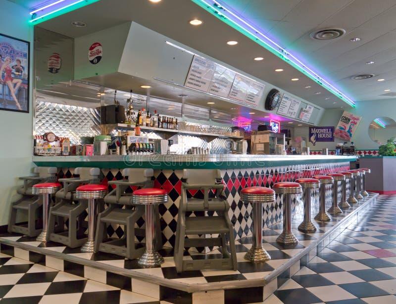 παλαιό εστιατόριο ύφους του 1950 στοκ φωτογραφίες
