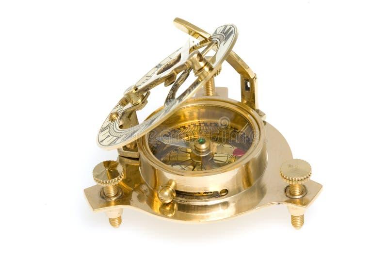 παλαιό ηλιακό ρολόι πυξίδ&omeg στοκ εικόνες