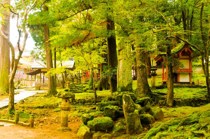 Παλαιό ιστορικό κτήριο ναών στην ασιατική χώρα κατά τη διάρκεια της εποχής άνοιξης στοκ φωτογραφίες