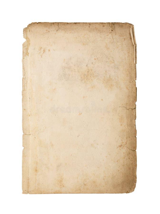Παλαιό και βρώμικο φύλλο του εγγράφου που απομονώνεται στο άσπρο υπόβαθρο στοκ φωτογραφία με δικαίωμα ελεύθερης χρήσης