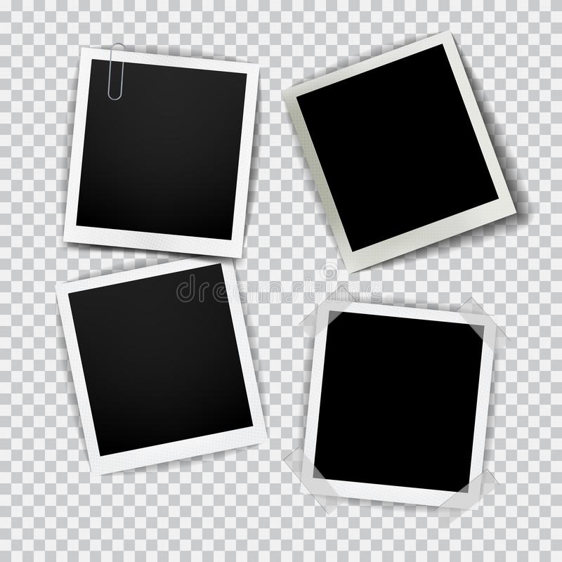 Παλαιό κενό ρεαλιστικό πλαίσιο φωτογραφιών με τη διαφανή σκιά στο μαύρο άσπρο υπόβαθρο καρό διανυσματική απεικόνιση