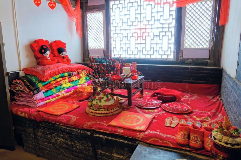 Παλαιό κινεζικό γαμήλιο δωμάτιο στοκ φωτογραφία με δικαίωμα ελεύθερης χρήσης