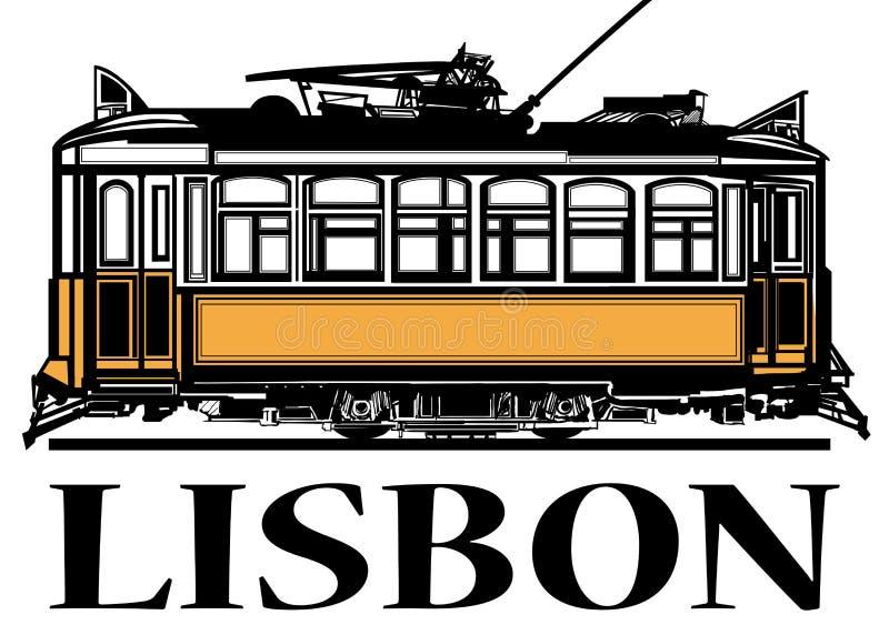 Παλαιό κλασικό κίτρινο τραμ της Λισσαβώνας διανυσματική απεικόνιση