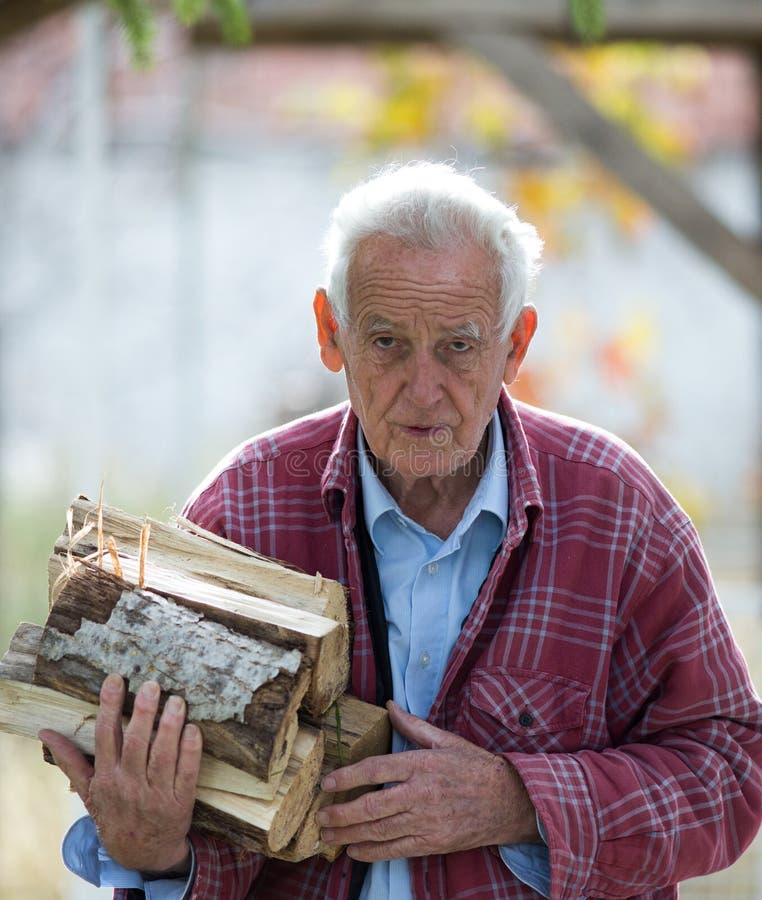 Παλαιό κούτσουρο πυρκαγιάς εκμετάλλευσης ατόμων στοκ εικόνα με δικαίωμα ελεύθερης χρήσης
