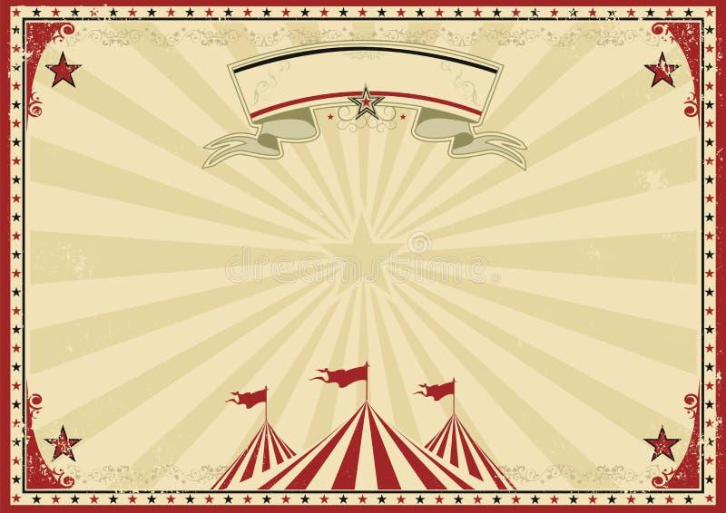 Παλαιό κόκκινο οριζόντιο υπόβαθρο τσίρκων απεικόνιση αποθεμάτων