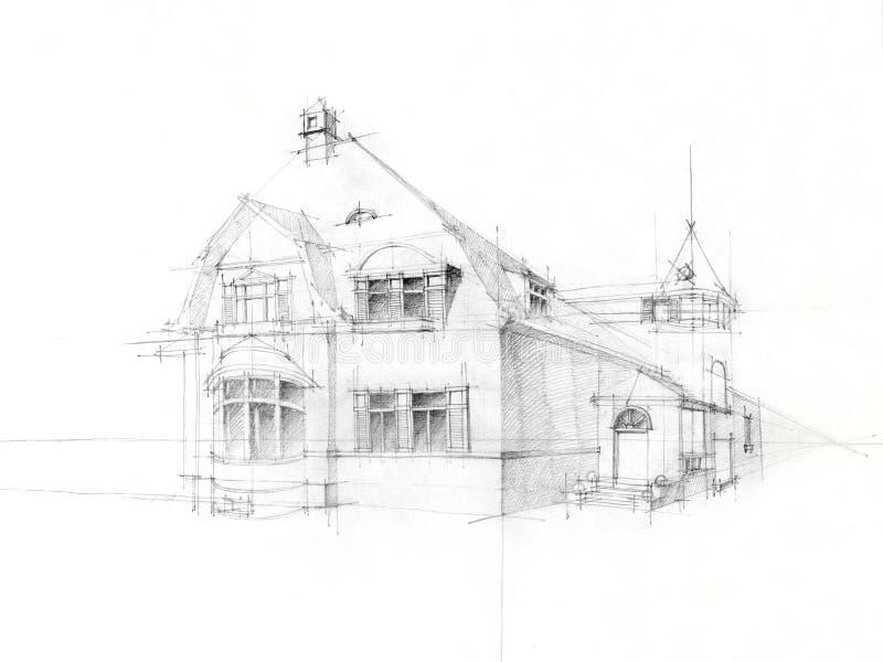 παλαιό λευκό σκίτσων μολυβιών εγγράφου σπιτιών στοκ εικόνα