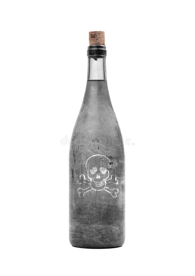 Παλαιό μπουκάλι με το δηλητήριο μέσα, που καλύπτεται στη σκόνη στοκ εικόνα