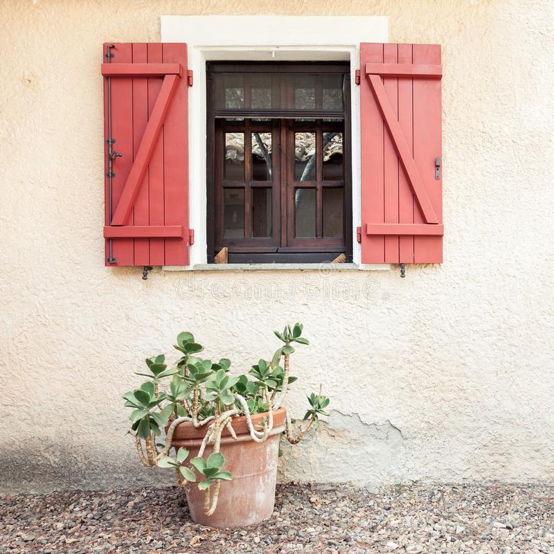 Παλαιό ξύλινο εγχώριο παράθυρο με τα ανοικτά παραθυρόφυλλα και τροπικές εγκαταστάσεις στο δοχείο λουλουδιών στοκ φωτογραφία με δικαίωμα ελεύθερης χρήσης