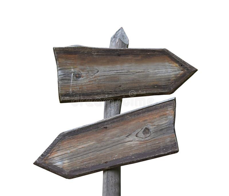 Παλαιό ξύλινο οδικό σημάδι με δύο βέλη που απομονώνεται στοκ εικόνα με δικαίωμα ελεύθερης χρήσης