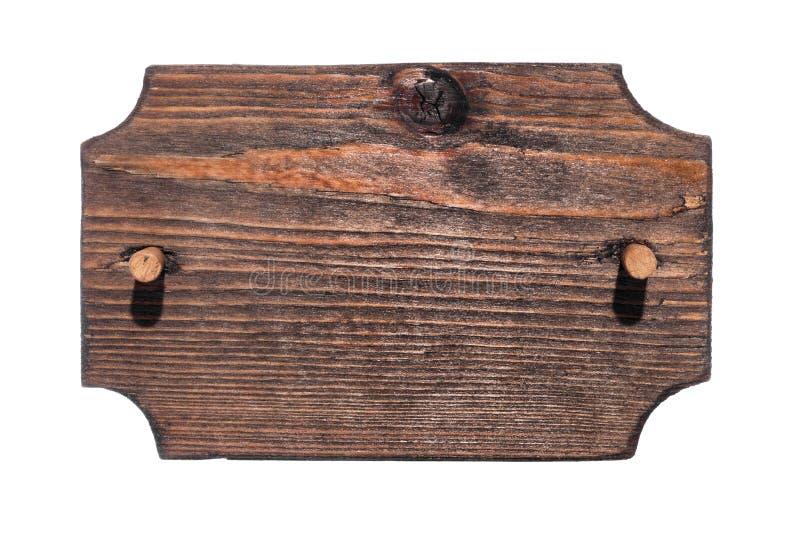 Παλαιό ξύλινο σημάδι με το ξύλινο φίμωμα απομονωμένος στοκ εικόνα