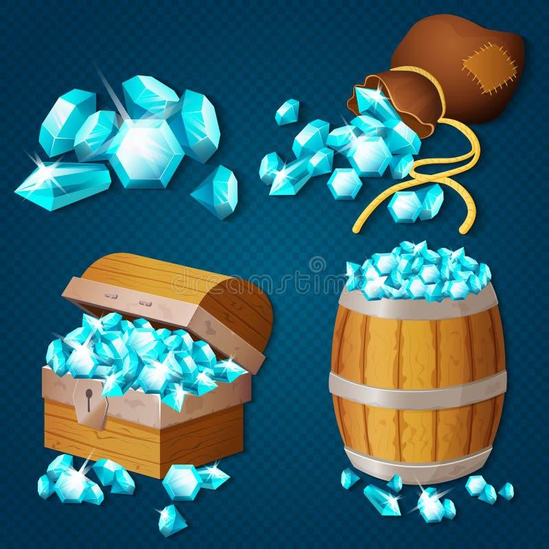 Παλαιό ξύλινο στήθος, βαρέλι, παλαιά τσάντα με τα διαμάντια πολύτιμων λίθων Διανυσματική απεικόνιση θησαυρών ύφους παιχνιδιών απεικόνιση αποθεμάτων