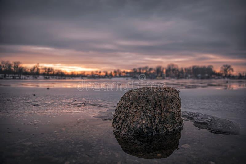Παλαιό ξύλο στο παγωμένο νερό στοκ φωτογραφίες