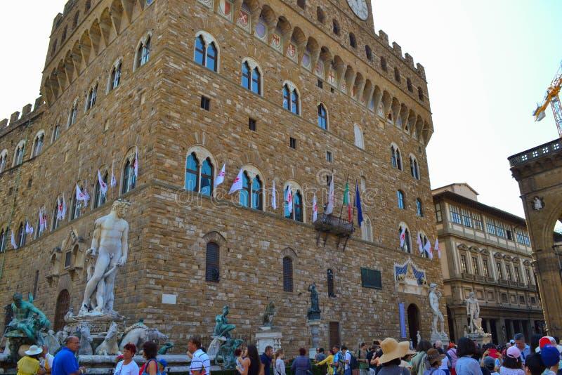 Παλαιό παλάτι Vecchio Palazzo με την πηγή Ποσειδώνα Fontana δ στοκ φωτογραφία με δικαίωμα ελεύθερης χρήσης