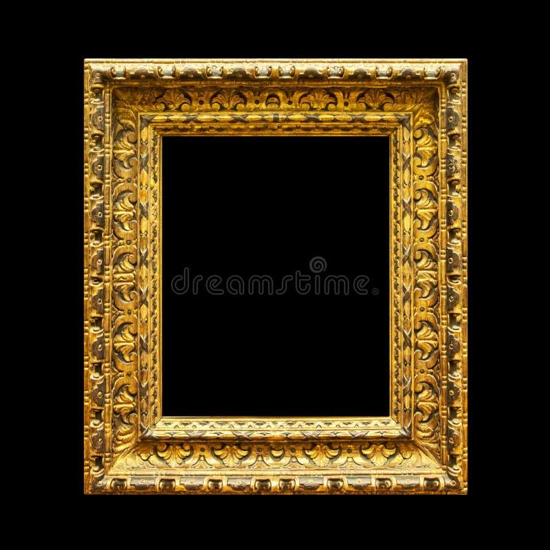 Παλαιό περίκομψο ξύλινο πλαίσιο που απομονώνεται στο Μαύρο στοκ εικόνες με δικαίωμα ελεύθερης χρήσης