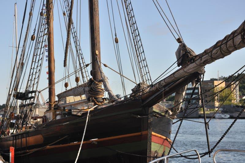 παλαιό πλέοντας tonsberg σκάφος της Νορβηγίας λεπτομέρειας ξύλινο στοκ εικόνα