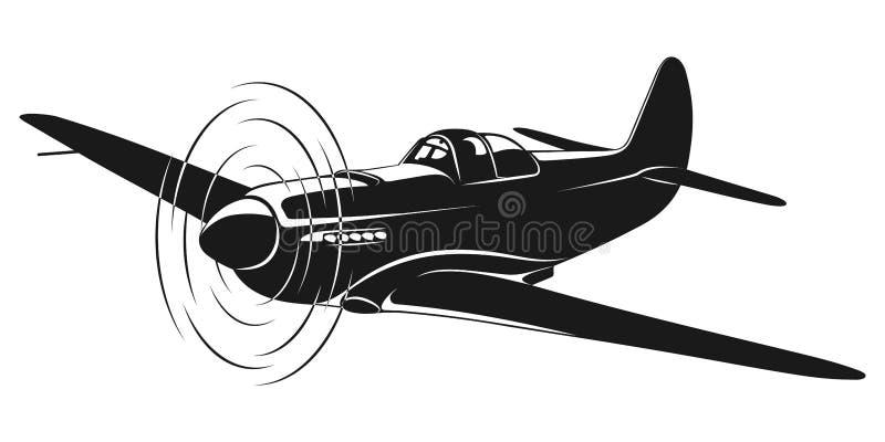 Παλαιό πολεμικό αεροσκάφος διανυσματική απεικόνιση