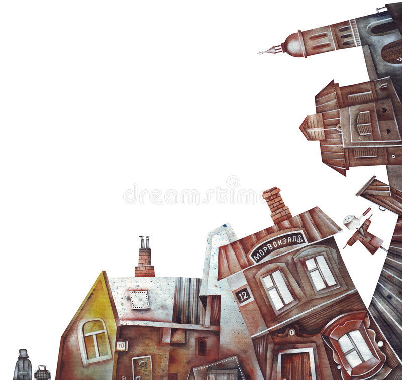 παλαιό πόλης χωριό τοπίων διανυσματική απεικόνιση