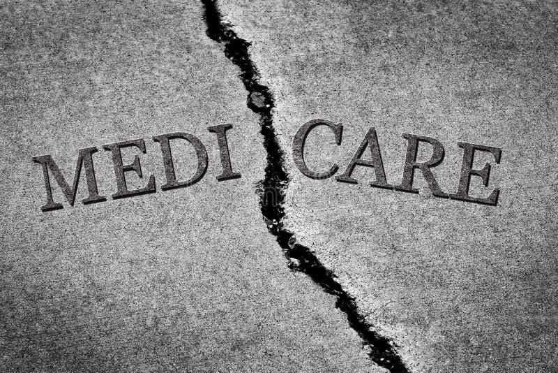 Παλαιό ραγισμένο Medicare τσιμέντου πεζοδρομίων επικίνδυνο σπασμένο πρόγραμμα χρώμιο στοκ εικόνες