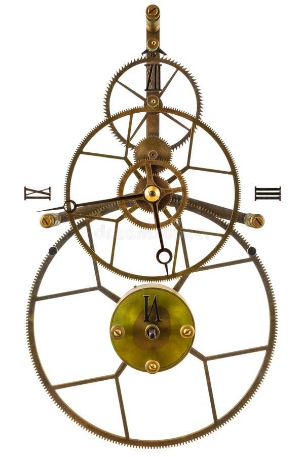 Παλαιό ρολόι σκελετών που απομονώνεται στο λευκό στοκ εικόνες