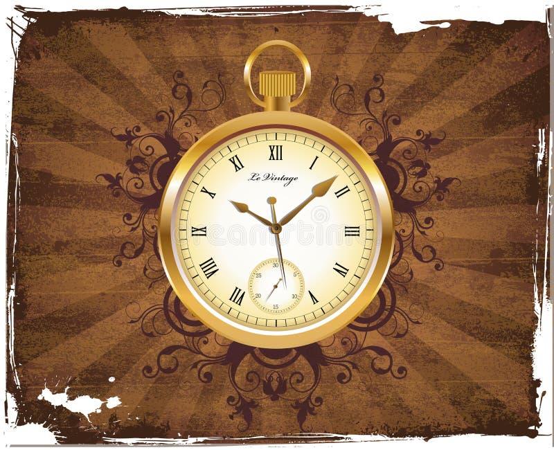 παλαιό ρολόι τσεπών διανυσματική απεικόνιση