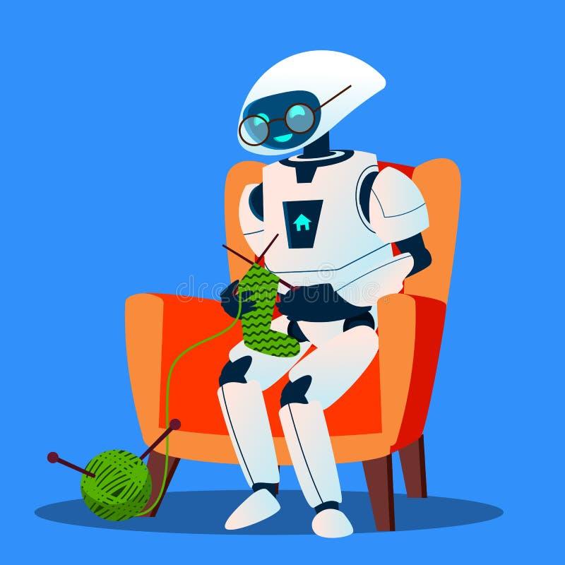 Παλαιό ρομπότ με τα γυαλιά που πλέκουν ένα διάνυσμα καλτσών απομονωμένη ωθώντας s κουμπιών γυναίκα έναρξης χεριών απεικόνιση ελεύθερη απεικόνιση δικαιώματος