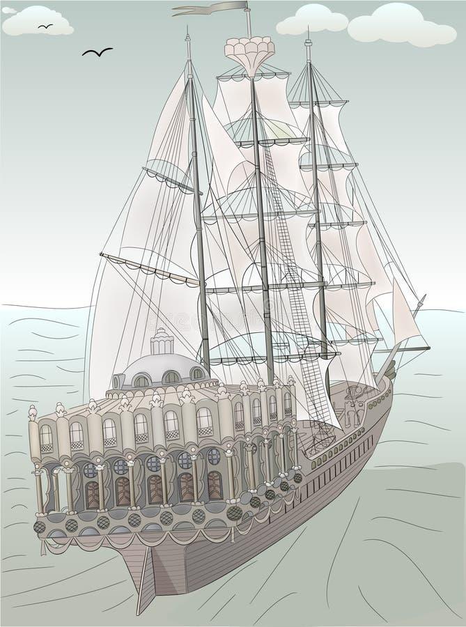 παλαιό σκίτσο σκαφών απεικόνιση αποθεμάτων