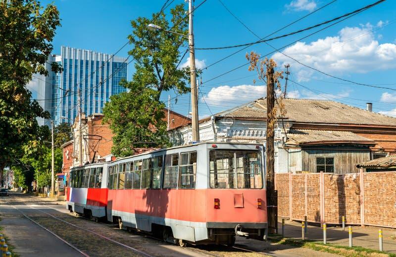 Παλαιό σοβιετικό τραμ πόλεων σε Krasnodar, Ρωσία στοκ φωτογραφία με δικαίωμα ελεύθερης χρήσης