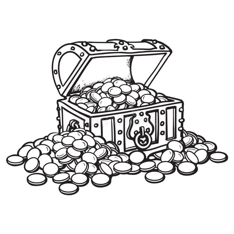Παλαιό στήθος με τα νομίσματα Σωροί των νομισμάτων γύρω Γραπτή συρμένη χέρι διανυσματική απεικόνιση ύφους κινούμενων σχεδίων διανυσματική απεικόνιση