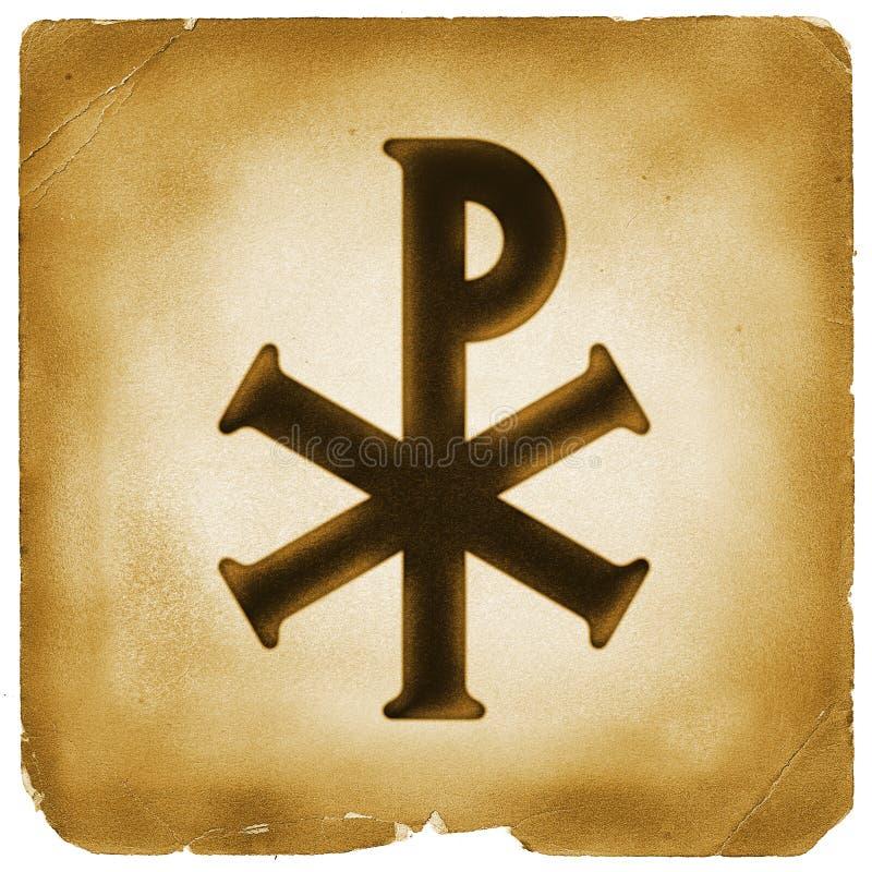 παλαιό σύμβολο εγγράφου μονογραμμάτων Χριστού απεικόνιση αποθεμάτων