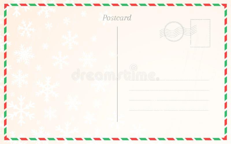 Παλαιό ταχυδρομικό πρότυπο καρτών με χειμερινά snowflakes Πίσω σχέδιο καρτών για τα Χριστούγεννα και τους νέους χαιρετισμούς έτου ελεύθερη απεικόνιση δικαιώματος