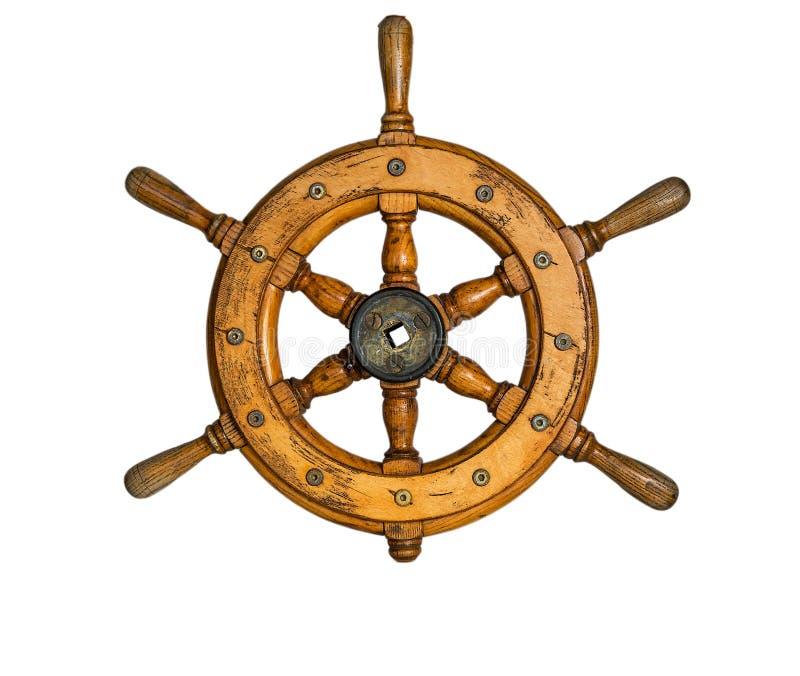 Παλαιό τιμόνι σκαφών εκλεκτής ποιότητας, ξύλινο που απομονώνεται στο άσπρο υπόβαθρο στοκ εικόνα