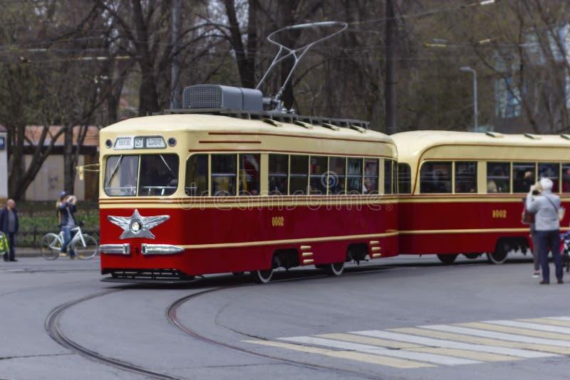 Παλαιό τραμ στις οδούς της Μόσχας στοκ φωτογραφίες με δικαίωμα ελεύθερης χρήσης
