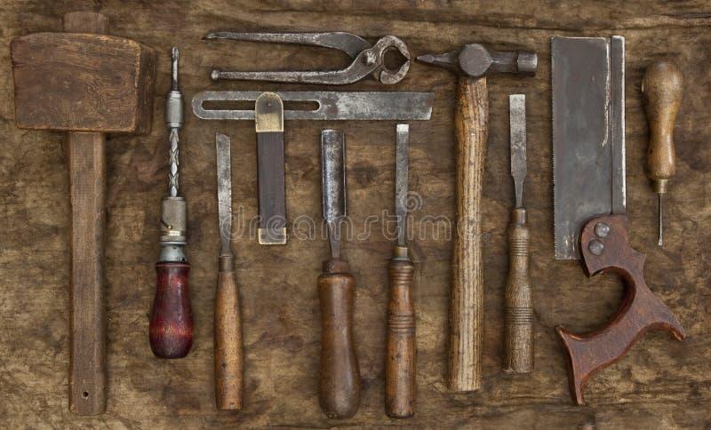 Παλαιό υπόβαθρο εργαλείων ξυλουργικής στοκ φωτογραφία