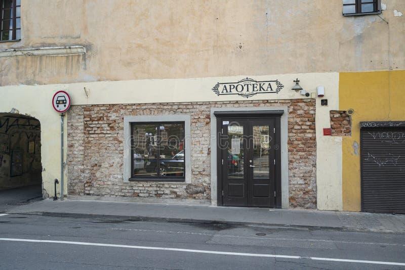 Παλαιό φαρμακείο σε Vilnius στοκ εικόνα