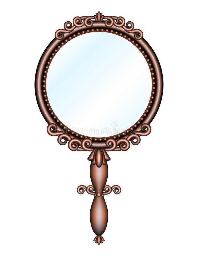 παλαιό χέρι - κρατημένος καθρέφτης αναδρομικός διανυσματική απεικόνιση