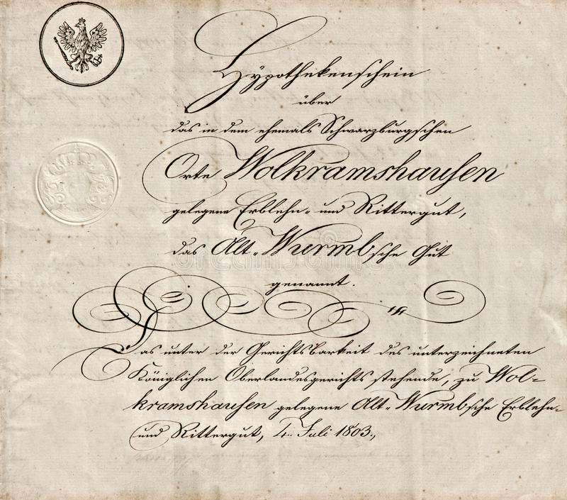 Παλαιό χειρόγραφο με το καλλιγραφικό χειρόγραφο κείμενο στοκ εικόνες