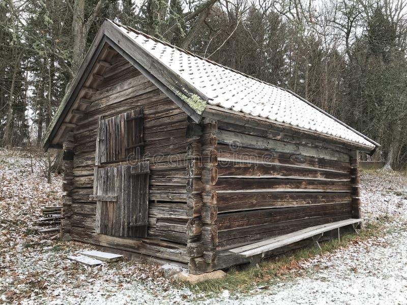 Παλαιό χιόνι ημέρας σπιτιών ξύλινο στοκ εικόνα